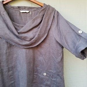 Soft Surroundings Linen Cowl Neck Pocket Tunic L